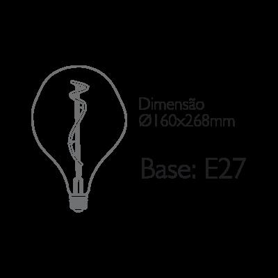 Lâmpada Filamento Vetro D160
