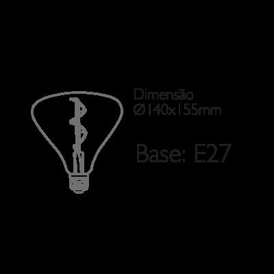 Lâmpada Filamento Vetro BR140