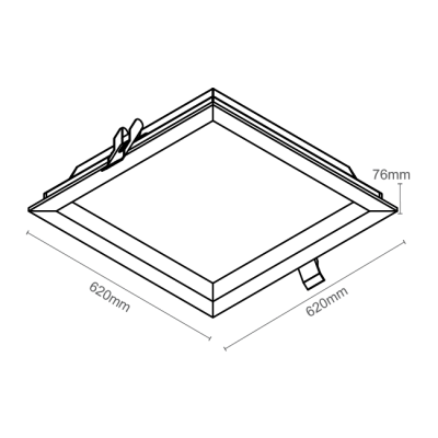 Luminária Embutir Recuada 62x62